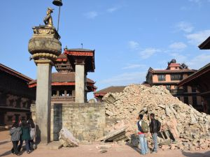 Bhaktapur Durbar Square in 2015, after the earthquakes in April-May. (Photo: © DirghaMan & GaneshMan Chitrakar Art Foundation, Courtesy The Rubin Museum of Art)