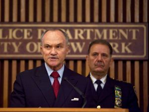 Former New York Police Commissioner Ray Kelly (L) speaks as former Chief of Police Joseph Esposito looks on. (Photo by Ramin Talaie/Getty Images)