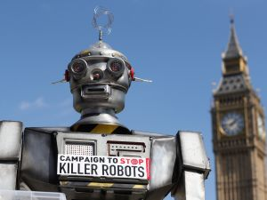 A photo from the 'Campaign to Stop Killer Robots' which called for a pre-emptive ban on lethal robot weapons in 2013.