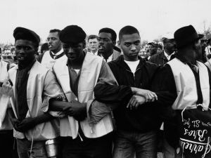 March 1965: Participants in a black voting rights march in Alabama. Dr Martin Luther King led the march from Selma, Alabama, to the state capital in Montgomery. (Photo: William Lovelace/Express/Getty Images)