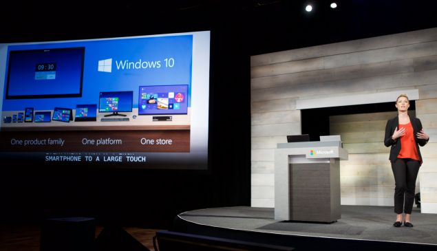 BELLEVUE, WA - DECEMBER 3: Microsoft's Ashley Frank talks about Windows 10 during Microsoft Shareholders Meeting December 3, 2014 in Bellevue, Washington. The meeting as first without Steve Ballmer as the company's CEO and the first without Bill Gates as the Chairman of the Board.