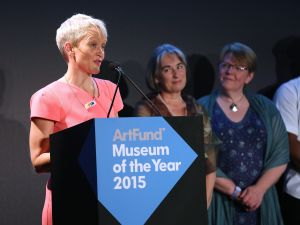 Director of the Whitworth, Maria Balshaw speaks as the museum wins the U.K.'s largest arts prize. (Photo by Tim P. Whitby/Getty Images for The Art Fund)