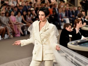 Kendall Jenner sported a shorter look on the Chanel runway in Paris today. (Photo: Getty)