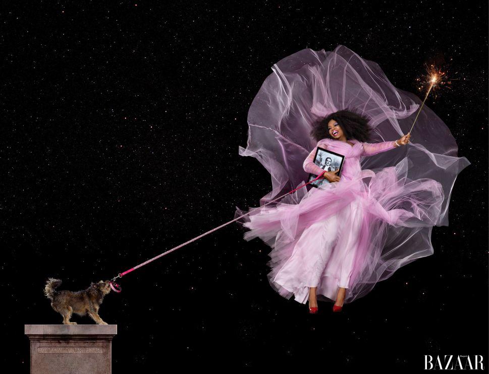 Oprah Poses as Glinda the Good Witch in Stunning Harper's Bazaar Spread