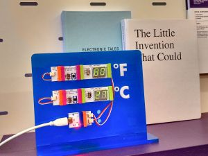 Example invention on display at LittleBits store. (Photo: Brady Dale for Observer)