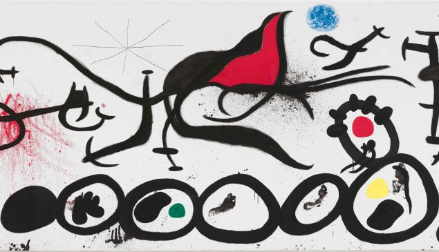 La Marche pénible guidée par l'oiseau flamboyant du désert (The Sorrowful March Guided by the Flamboyant Bird of the desert) April 4, 1968 by Joan Miró.