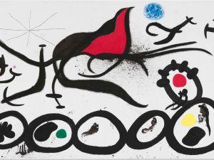 La Marche pénible guidée par l'oiseau flamboyant du désert (The Sorrowful March Guided by the Flamboyant Bird of the desert) April 4, 1968 by Joan Miró.