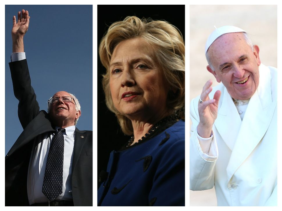 Bernie Sanders, Hillary Clinton, and Pope Francis