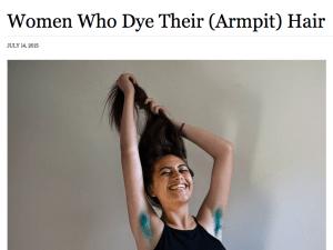 A screenshot of the armpit hair story.