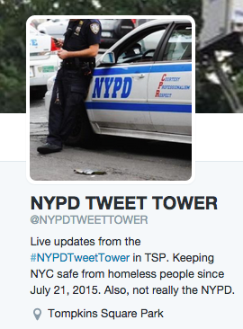 Satirical Twitter Account Takes on the NYPD Tower in Tompkins Square Park