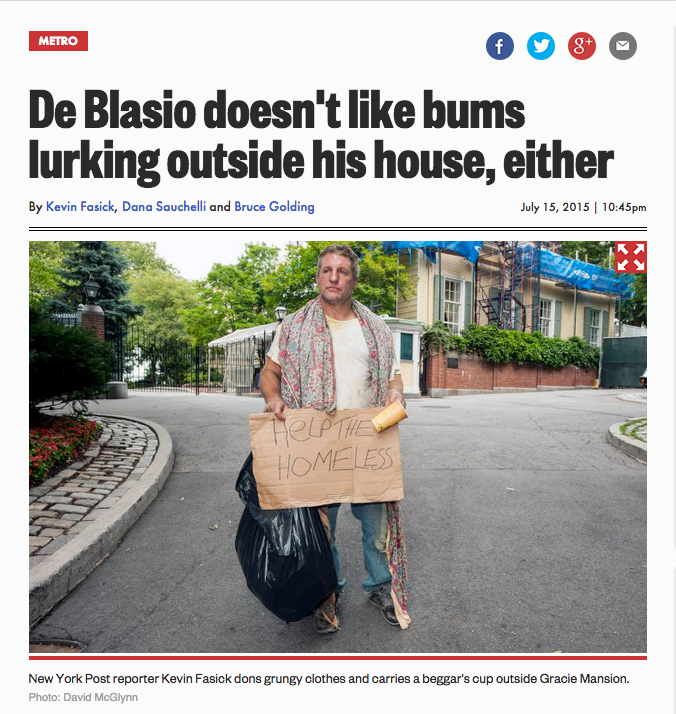 New York Post Makes Reporter Pretend to Be Homeless