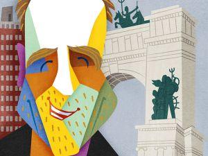 Colin Quinn, illustration by David Cowles.