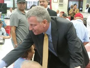 Mayor Bill de Blasio greets seniors in the Bronx today. (Photo: Ross Barkan for Observer)