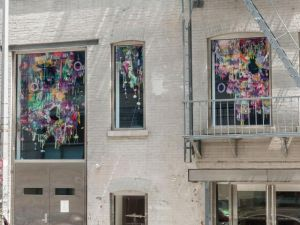 A view of the Mixed Greens gallery facade with a window installation by Baltimore-based artist Amy Boone-McCreesh. (Photo: Courtesy of Mixed Greens)