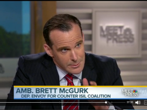 On 'Meet the Press' the man tasked with fighting Isis (aka Isil) Brett McGurk painted a rosy picture of progress against the terrorist group but Chuck Todd wasn't buying it. (Screencap/NBC News)