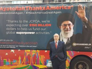 "Assemblyman Dov Hikind with his ""Ayatollah Thanks America"" bus (Photo: Assemblyman Dov Hikind's Office)."