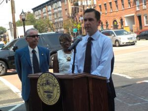 Mayor Fulop at the corner of Jersey Ave and Columbus Drive.