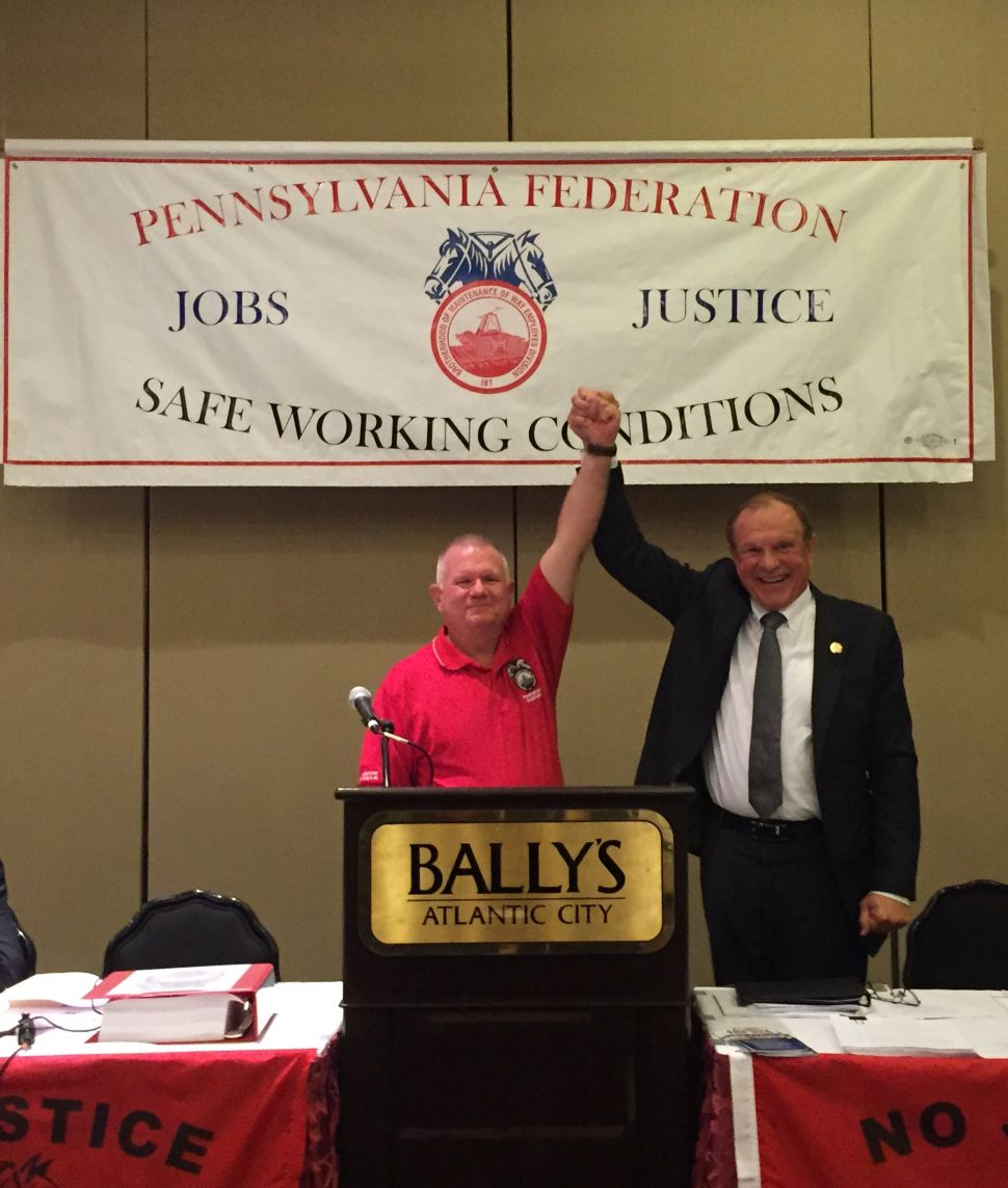 Maintenance of Way Employees Pass Resolution in Support of Lesniak for Guv