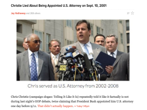 This story on Gawker, still up and uncorrected more than 6 hours after being posted, says Christie 'lied' about the timing of his appointment as US Attorney. (screencap)