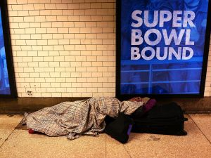 A homeless person in Penn Station. (Photo: Spencer Platt for Getty Images)