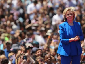 Hillary Clinton at her campaign kickoff on Roosevelt Island last year.