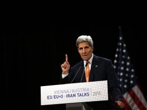 Secretary of State John Kerry speaks during a press conference of Iran nuclear talks at Austria International Centre in Vienna, Austria. (Photo: CARLOS BARRIA/AFP/Getty Images)