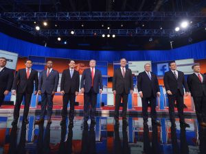 Republican presidential candidates arrive on stage for the Republican presidential debate on August 6, 2015 at the Quicken Loans Arena in Cleveland, Ohio. (MANDEL NGAN/AFP/Getty Images)