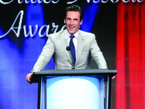 BEVERLY HILLS, CA - AUGUST 08: Actor Jon Hamm accepts the TCA Award for Individual Achievement in Drama for 'Mad Men' onstage during the 31st annual Television Critics Association Awards at The Beverly Hilton Hotel on August 8, 2015 in Beverly Hills, California. (Photo by Frederick M. Brown/Getty Images)