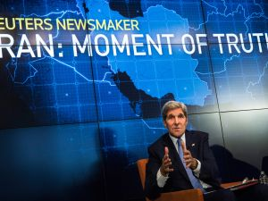 NEW YORK, NY - AUGUST 11: U.S. Secretary of State John Kerry speaks about the Iran Deal on August 11, 2015 in New York City. The U.S. Congress has until September 17 to approve a bill either supporting or rejecting the deal. (Photo by Andrew Burton/Getty Images)