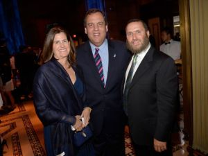 Mary Pat and Chris Christie join Rabbi Shmuley Boteach at the second annual World Jewish Values Network gala dinner on May 18, 2014 in New York City. PolitickerNJ has confirmed that Gov. Christie will be attending a press conference Rabbi Shmuley is organizing on Aug. 25 to urge Sen. Booker and other members of NJ Congressional delegation to oppose the Iran deal. (Ben Gabbe/Getty Images for This World Jewish Values Network)