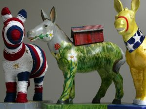 401353 08: Maquettes of donkeys, the symbol of the Democratic Party, from the Party Animals Project are displayed March 22, 2002 in Washington, DC. One hundred pairs of donkeys and elephants will be decorated by artists for DC Commission on the Arts and Humanities'' Party Animals project and will be displayed throughout the nations capital in Spring, 2002. (Photo by Alex Wong/Getty Images)