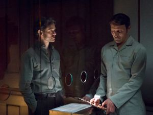 """HANNIBAL -- """"...and the Woman Clothed in the Sun"""" Episode 310 -- Pictured: (l-r) Hugh Dancy as will Graham, Mads Mikkelsen as Hannibal Lecter -- (Photo by: Brooke Palmer/NBC)"""