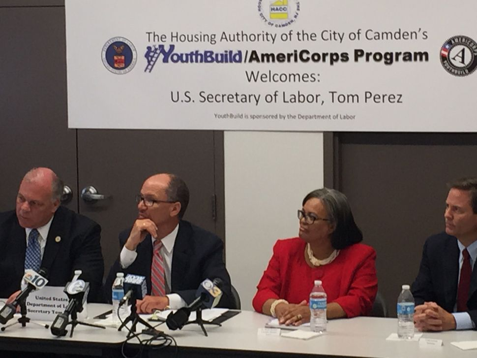 Sweeney and Secretary of Labor Tom Perez Tour Youth Job Training Site in Camden