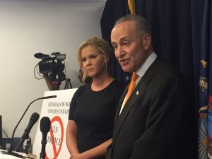 Comedian Amy Schumer and her cousin Sen. Charles Schumer discuss gun control legislation. (Photo: Jillian Jorgensen for Observer)