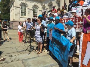 Advocates rally for help for the homeless outside City Hall. (Photo: Jillian Jorgensen for Observer)