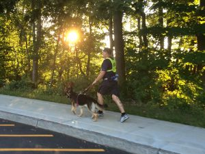 Richard Hunter and Klinger, running at sunrise. (Photo: Guiding Eyes for the Blind)