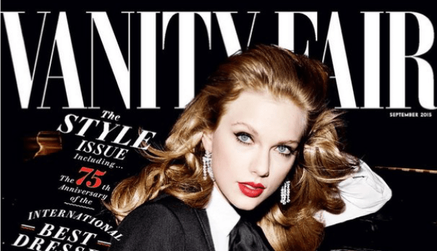 Ms. Swift on the cover of Vanity Fair. (Photo: Facebook/Vanity Fair)