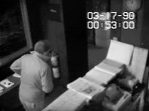 New footage released by the FBI on Thursday shows a man entering the museum at 1:00 a.m. through the same side door used by the thieves. (Photo: Video Still via YouTube, Courtesy FBI)