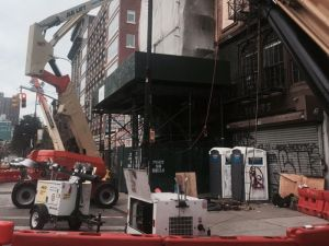 The view of Andrew Edling Gallery on 212 Bowery amid construction on a condominium next door at 210 Bowery. (Photo: Courtesy Andrew Edlin Gallery)
