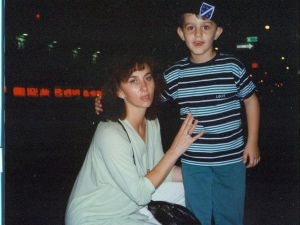 The author and his mother in Astoria, Queens during their first month in the U.S. He is wearing a Bosnian military beret. (Courtesy Arman Dzidzovic)