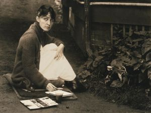 An early portrait of Georgia O'Keeffee by Alfred Stieglitz, featured in Sotheby's October 7 Photographs sale. Est. $100,000-$200,000.