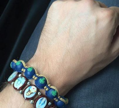 This is the bracelet that a white driver gave to a black statie who pulled him over for speeding. (Mike Powers Facebook)