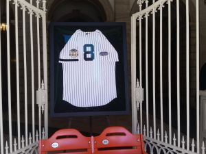 The Yogi Berra jersey at City Hall. (Photo: Ross Barkan for Observer)