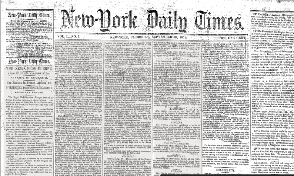 The New York Times Turns 164 Today
