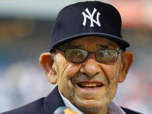 NEW YORK, NY - AUGUST Yogi Berra at Yankee Stadium in 2013. (Photo by Rich Schultz/Getty Images)
