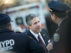 NEW YORK, NY - DECEMBER 26: PBA president Patrick Lynch outside Christ Tabernacle Church prior to his wake on December 26, 2014 in the Glendale neighborhood of the Queens borough of New York City. Ramos was killed along with NYPD officer Wenjian Liu as they sat in their patrol car on December 20. (Photo by Andrew Theodorakis/Getty Images)