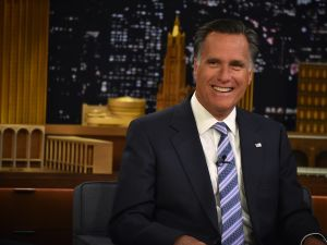 """NEW YORK, NY - MARCH 25: Mitt Romney Visits """"The Tonight Show Starring Jimmy Fallon"""" at Rockefeller Center on March 25, 2015 in New York City. (Photo by Theo Wargo/NBC/Getty Images for """"The Tonight Show Starring Jimmy Fallon"""")"""