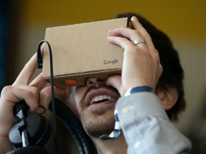 Google Cardboard in action (Photo by Justin Sullivan/Getty Images)