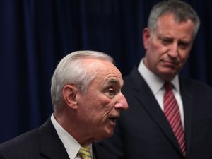 NYPD Commissioner Bill Bratton with Mayor Bill de Blasio.