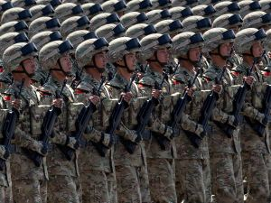 BEIJING, CHINA - Chinese soldiers march in formation.